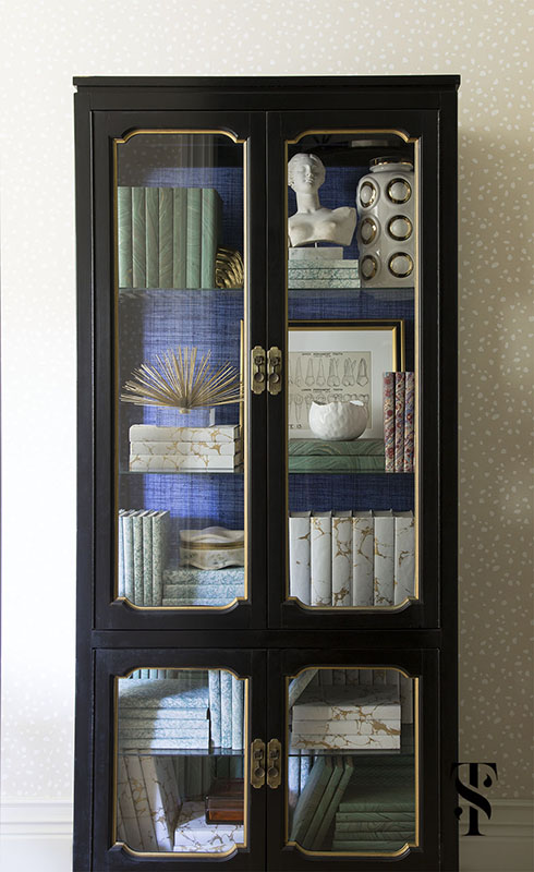 Chic Dental Office, Bookcase Styling, Marble Bust, Grasscloth, Interior Design by Summer Thornton Design