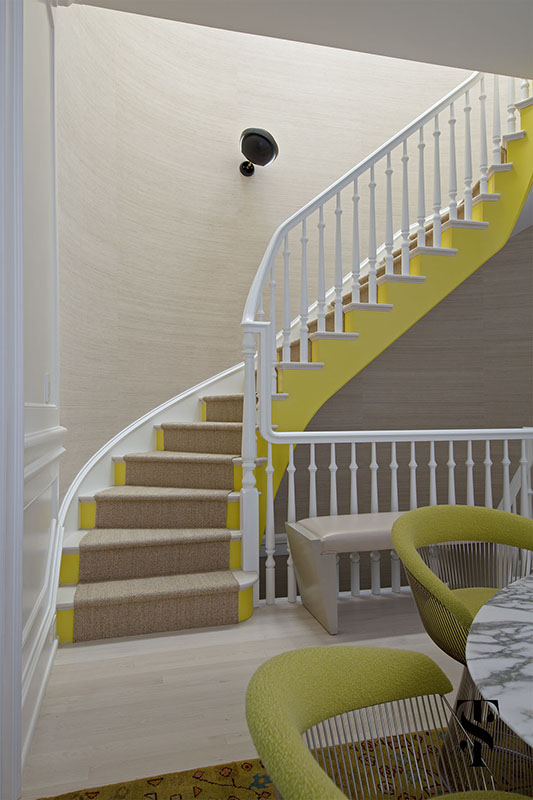 Lincoln Park Modern, Yellow Circular Staircase, Interior Design by Summer Thornton Design