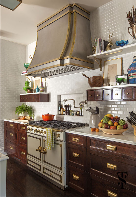 Lincoln Park Vintage, Kitchen, Stainless Steel Hood With Brass Accents, Interior Design by Summer Thornton Design