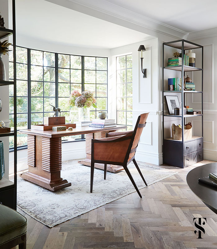 Country Club Tudor, Living Room Desk, Steel Framed Windows, Herringbone Wood Floors, Interior Design by Summer Thornton Design