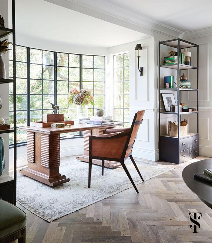Country Club Tudor, Living Room Desk, Steel Framed Windows, Herringbone Wood Floors, Interior Design by Summer Thornton Design