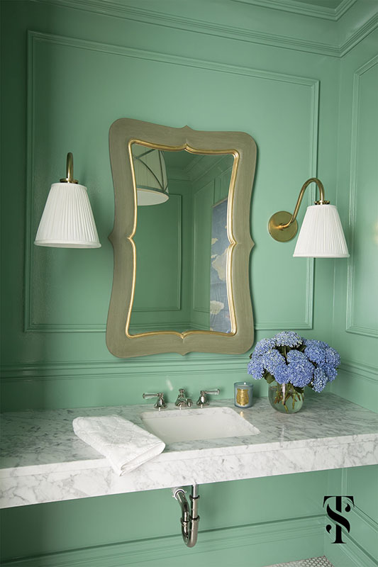 Chic Dental Office, Green Powder Room, Brass Sconces, Marble Sink, Interior Design by Summer Thornton Design
