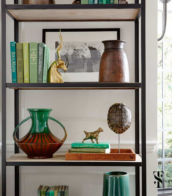 Country Club Tudor, Living Room Styled Bookcase, Interior Design by Summer Thornton Design