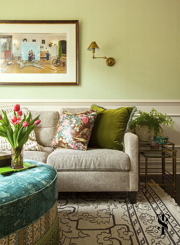 Lincoln Park Vintage Family Room, Wes Anderson Inspired, Interior Design by Summer Thornton Design