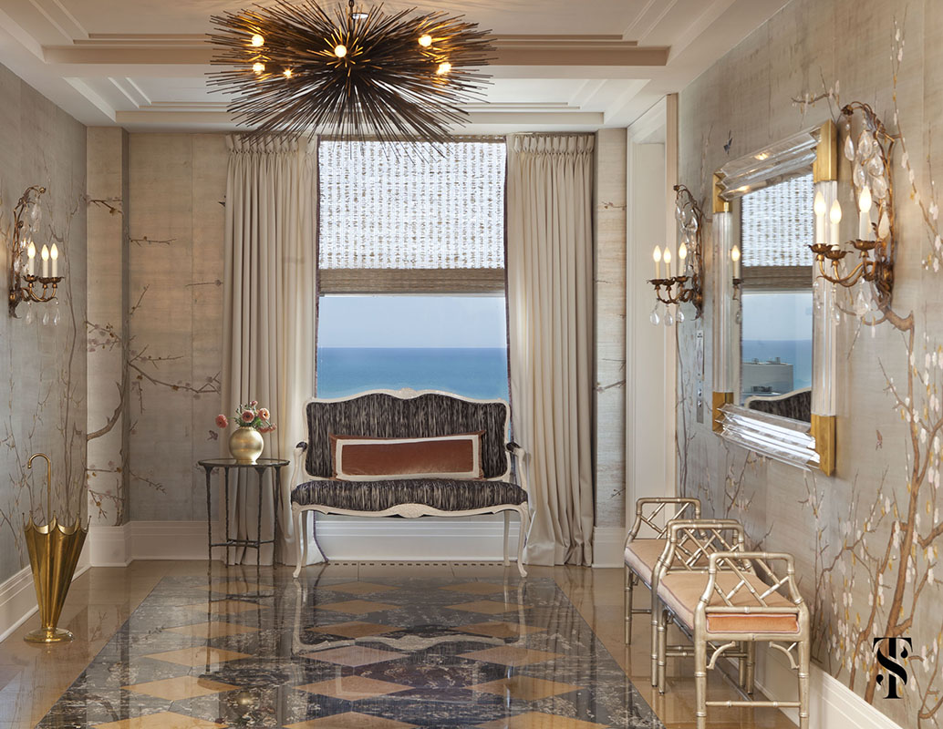 Palmolive Penthouse, Foyer, Hand-Painted Wallpaper, Interior Design by Summer Thornton Design