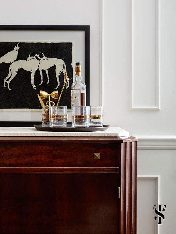 Country Club Tudor, Living Room Bar, Interior Design by Summer Thornton Design