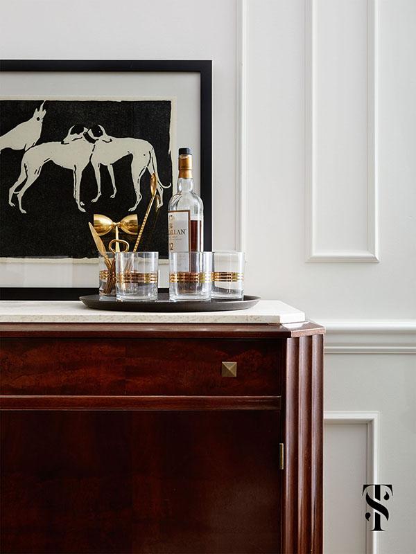 Country Club Tudor, Living Room Bar, Interior Design by Summer Thornton Design