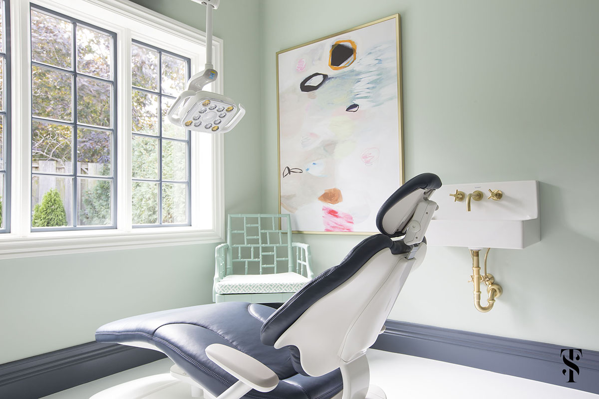 Chic Dental Office, Mint Walls With Abstract Art, Interior Design by Summer Thornton Design