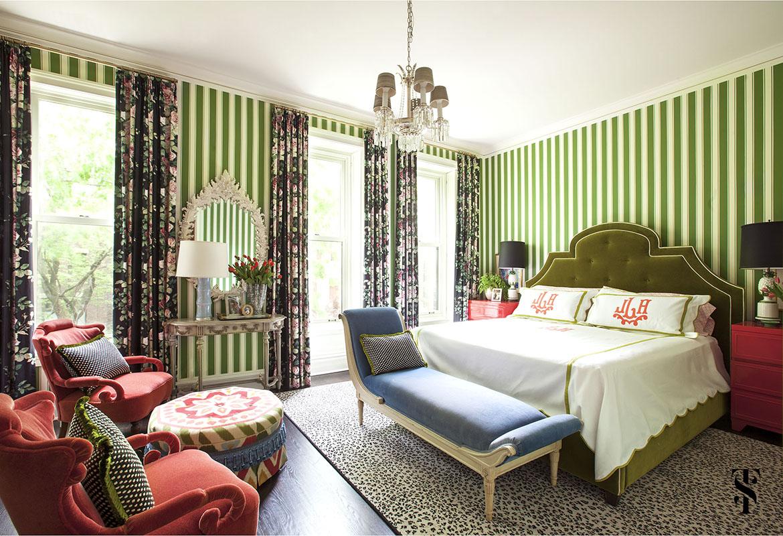 Lincoln Park Vintage, Master Bedroom, Striped Wallpaper, Interior Design by Summer Thornton Design