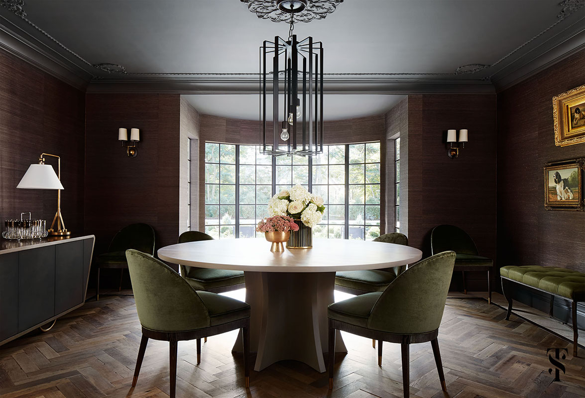 Country Club Tudor, Dining Room Wood Herringbone Floors and Grasscloth Walls, Interior Design by Summer Thornton Design