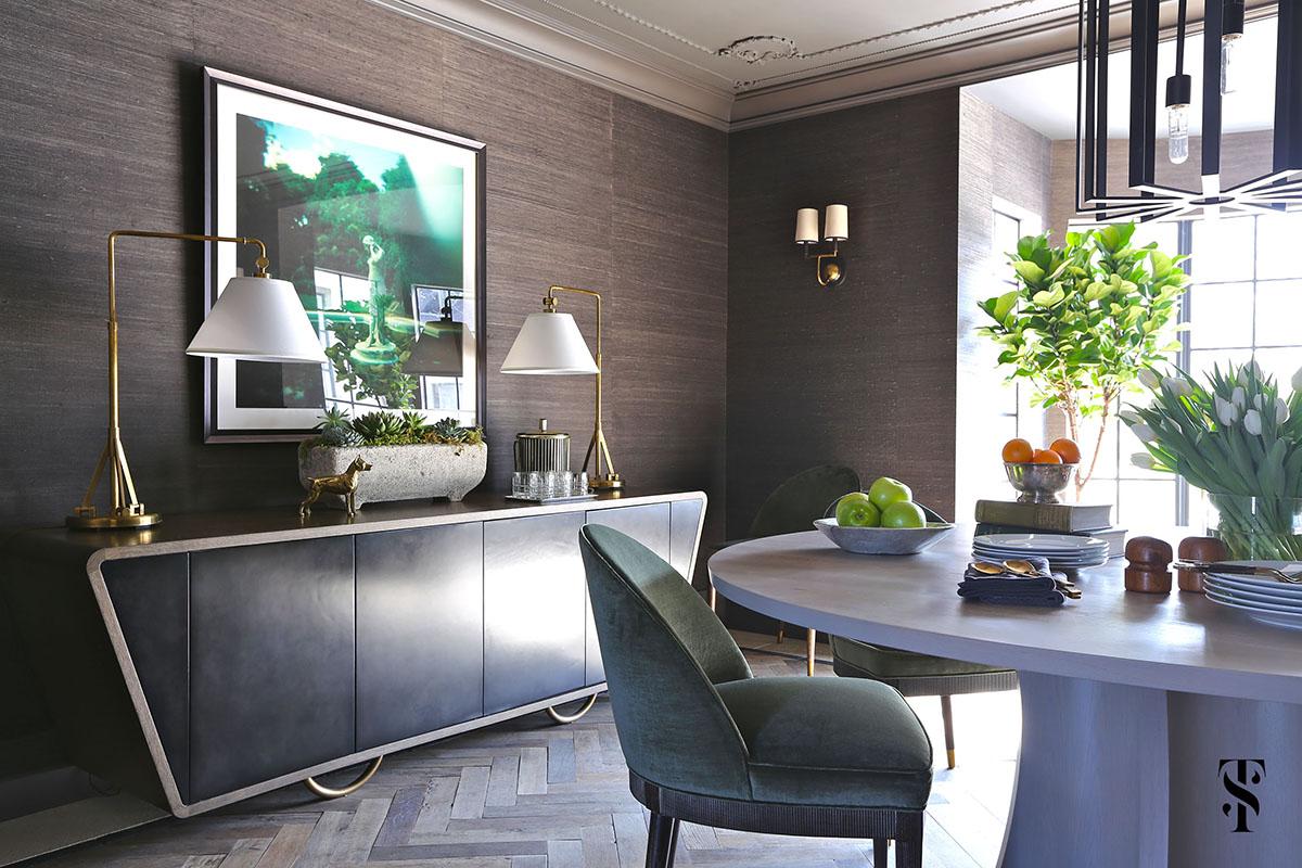 Country Club Tudor, Dining Room Wood Herringbone Floors and Grasscloth Walls, Interior Design by Summer Thornton Design