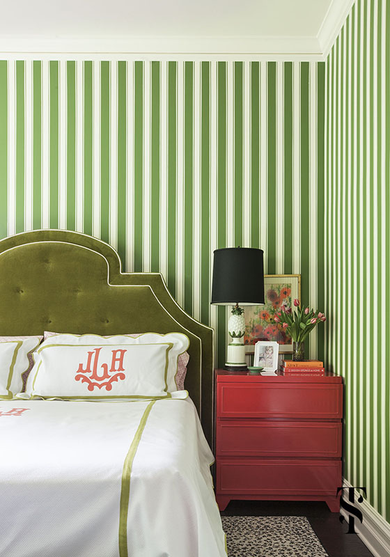 Lincoln Park Vintage, Master Bedroom, Green Striped Wallpaper, Interior Design by Summer Thornton Design