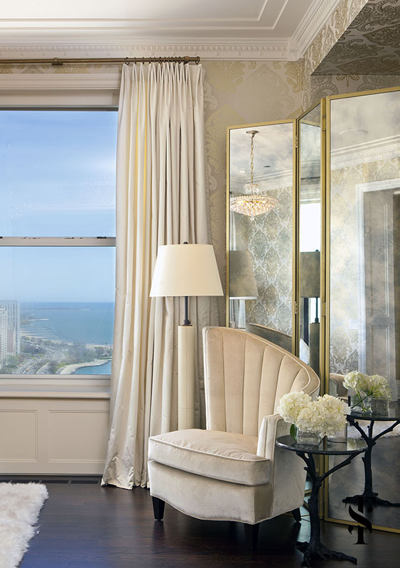Palmolive Penthouse, Bedroom, Art Deco, Mirrored Screen, Interior Design by Summer Thornton Design