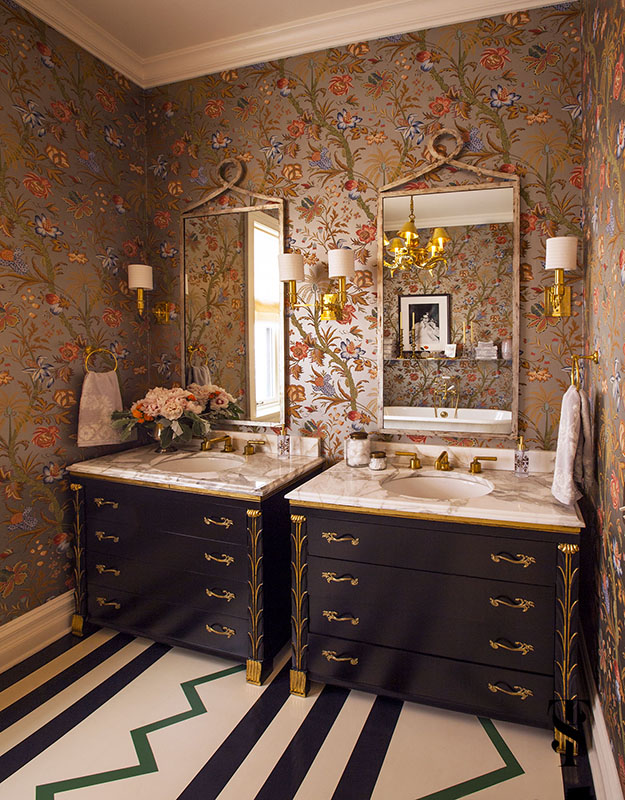 Lincoln Park Vintage, Master Bathroom With Floral Metallic Wallpaper, Painted Wood Floor, Interior Design by Summer Thornton Design