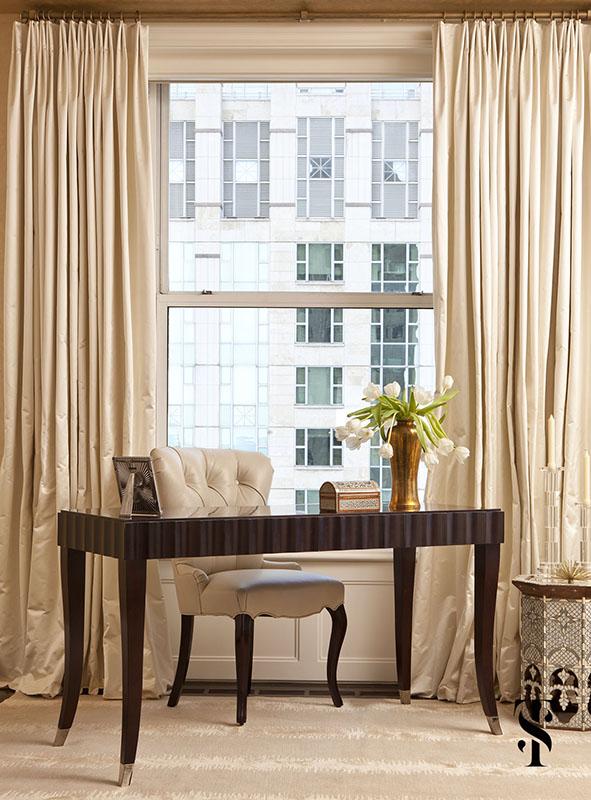Palmolive Penthouse, Bedroom, Drapery, Interior Design by Summer Thornton Design