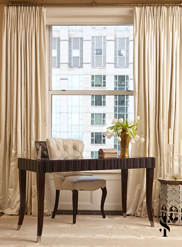 Palmolive Penthouse, Bedroom, Drapery, Interior Design by Summer Thornton Design