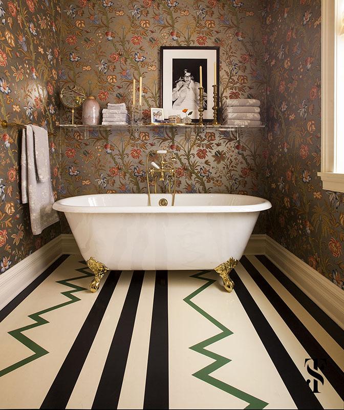 Lincoln Park Vintage, Master Bathroom With Floral Metallic Wallpaper, Painted Wood Floor, Interior Design by Summer Thornton Design