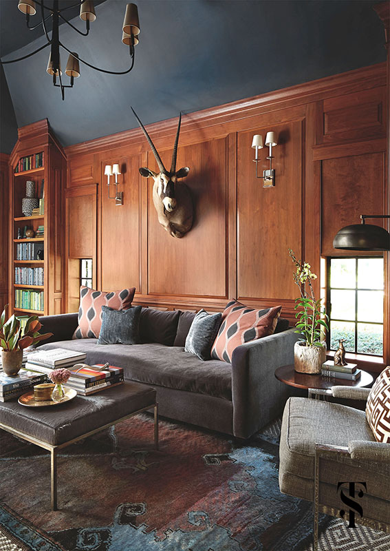 Country Club Tudor, Wood Paneled Den With Taxidermy, Interior Design by Summer Thornton Design