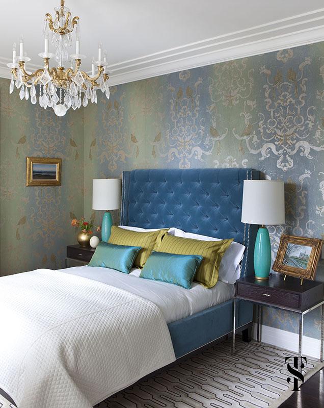 Palmolive Penthouse, Blue Bedroom, Interior Design by Summer Thornton Design