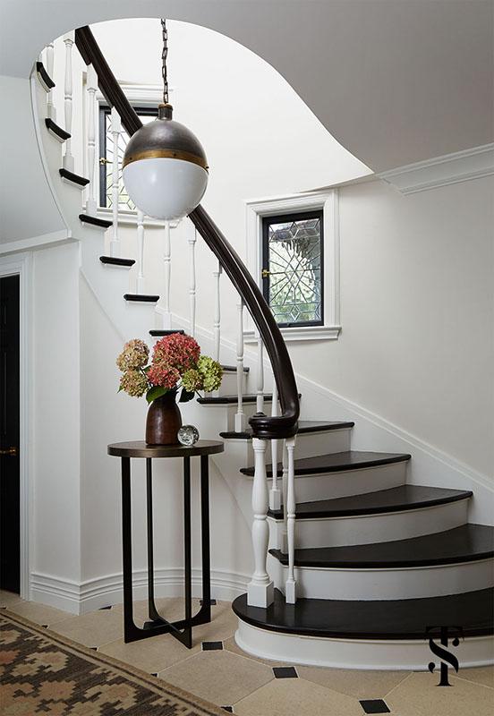 Country Club Tudor, Foyer With Circular Stairway, Interior Design by Summer Thornton Design