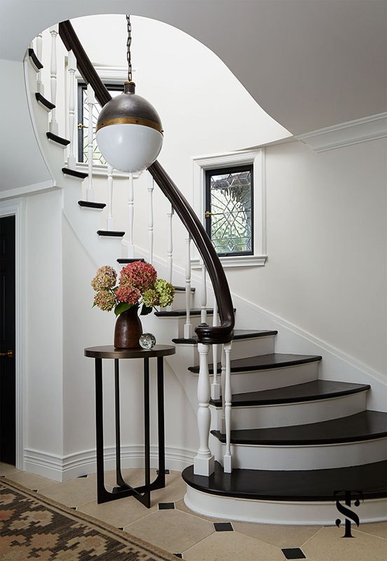 Country Club Tudor, Foyer With Circular Stairway, Interior Design by Summer Thornton Design
