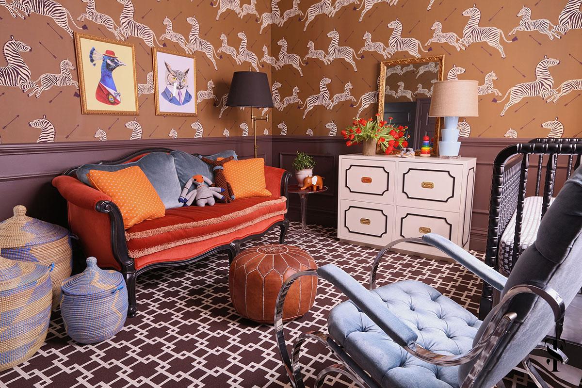 Lincoln Park Vintage, Boy Nursery, Zebra Wallpaper, Interior Design by Summer Thornton