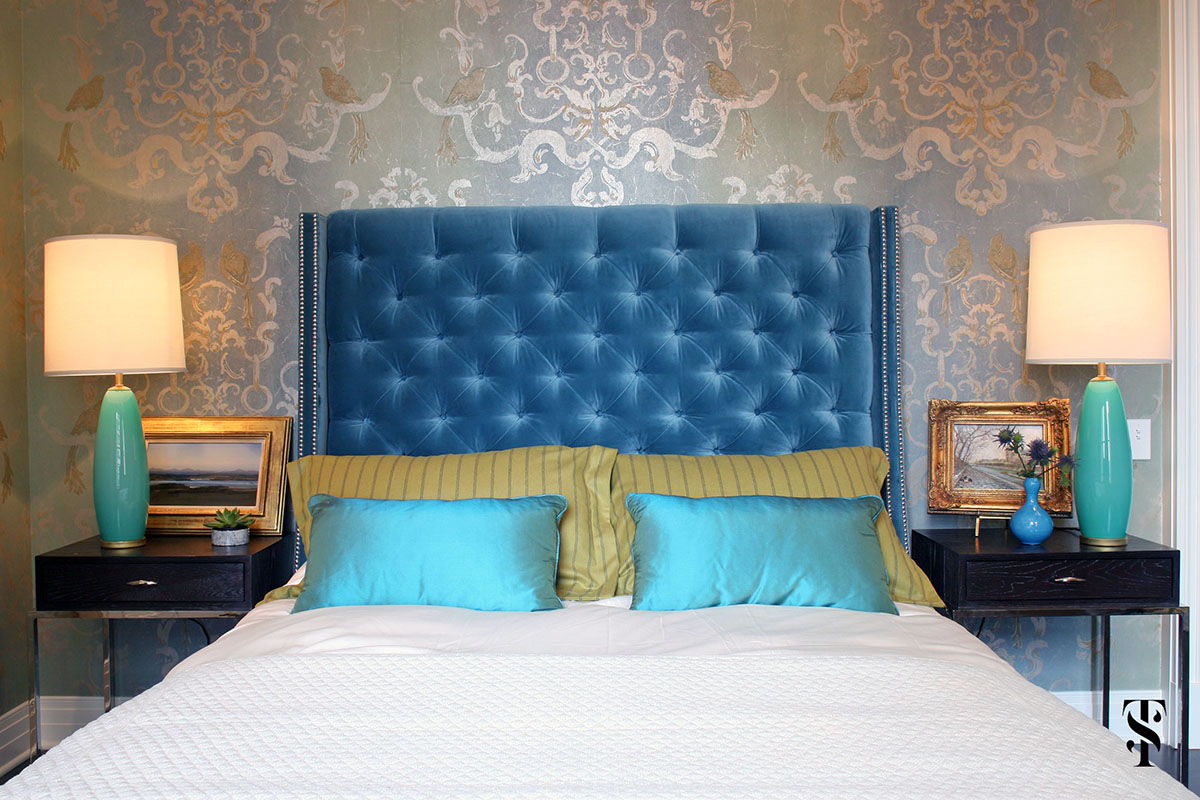Palmolive Penthouse, Blue Bedroom, Interior Design by Summer Thornton Design