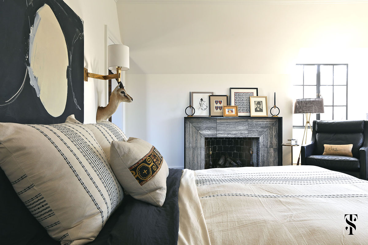 Country Club Tudor, Masculine Master Bedroom, Taxidermy, Fireplace, Interior Design by Summer Thornton Design