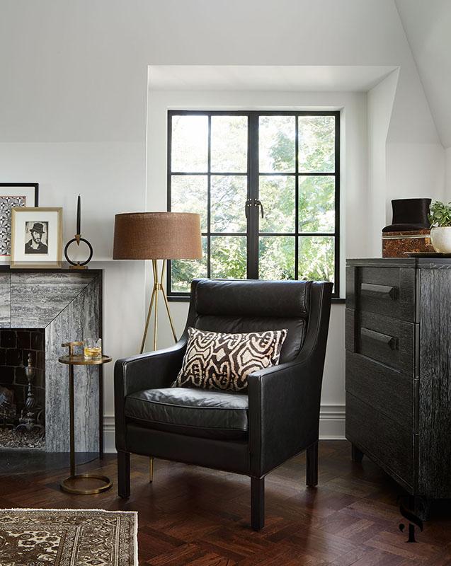 Country Club Tudor, Masculine Master Bedroom, Interior Design by Summer Thornton Design