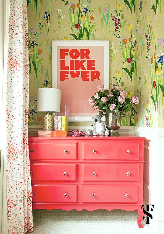 Lincoln Park Vintage, Girl's Bedroom, Floral Wallpaper, Interior Design by Summer Thornton