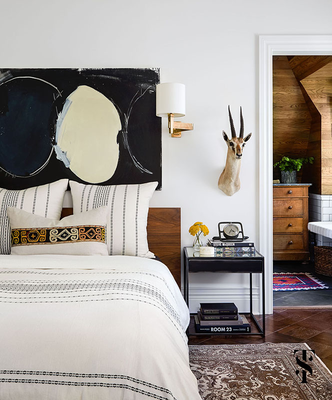Country Club Tudor, Masculine Master Bedroom, Taxidermy, Interior Design by Summer Thornton Design