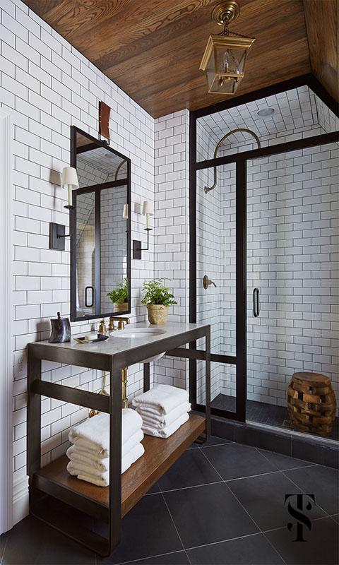 Country Club Tudor, Master Bathroom Steel Frame Shower, Wood Planked Ceiling, Interior Design by Summer Thornton Design