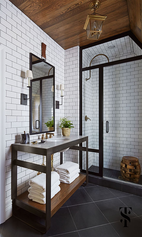 Country Club Tudor, Master Bathroom Steel Frame Shower, Wood Planked Ceiling, Interior Design by Summer Thornton Design
