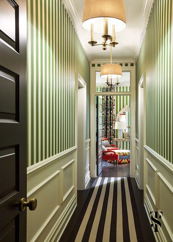 Lincoln Park Vintage, Striped Hallway, Interior Design by Summer Thornton Design