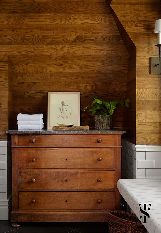 Country Club Tudor, Master Bedroom Wood Highboy Against Wood Planked Walls, Interior Design by Summer Thornton Design