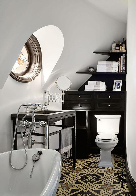 Country Club Tudor, Guest Bathroom With Pattern Floors, Interior Design by Summer Thornton Design