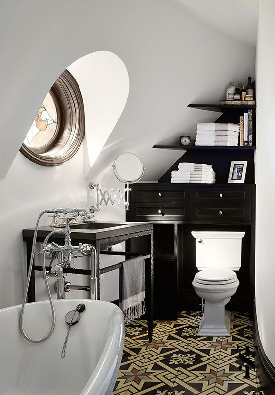Country Club Tudor, Guest Bathroom With Pattern Floors, Interior Design by Summer Thornton Design