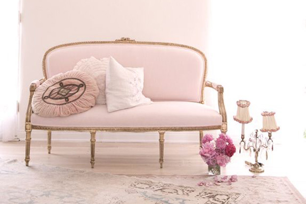 Blush Interior Design Inspiration with pink sofa and pink walls