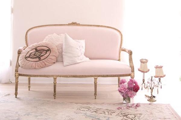 Blush Interior Design Inspiration with pink sofa and pink walls