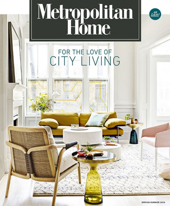 "Metropolitan Home ""Met Home"" Spring Summer 2016 cover featuring interior design and modern furnishings by Summer Thornton Design."