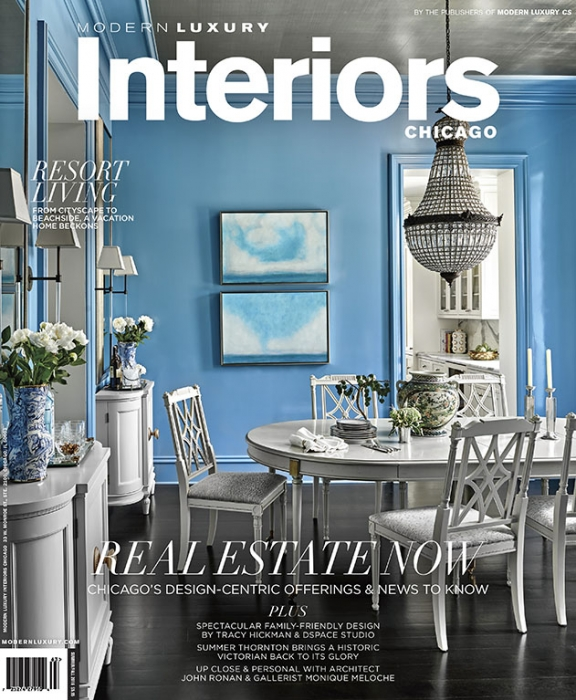 Modern Luxury Interiors Summer Fall 2016 featuring cerulean blue dining room in high gloss. Interior design by Summer Thornton Design.