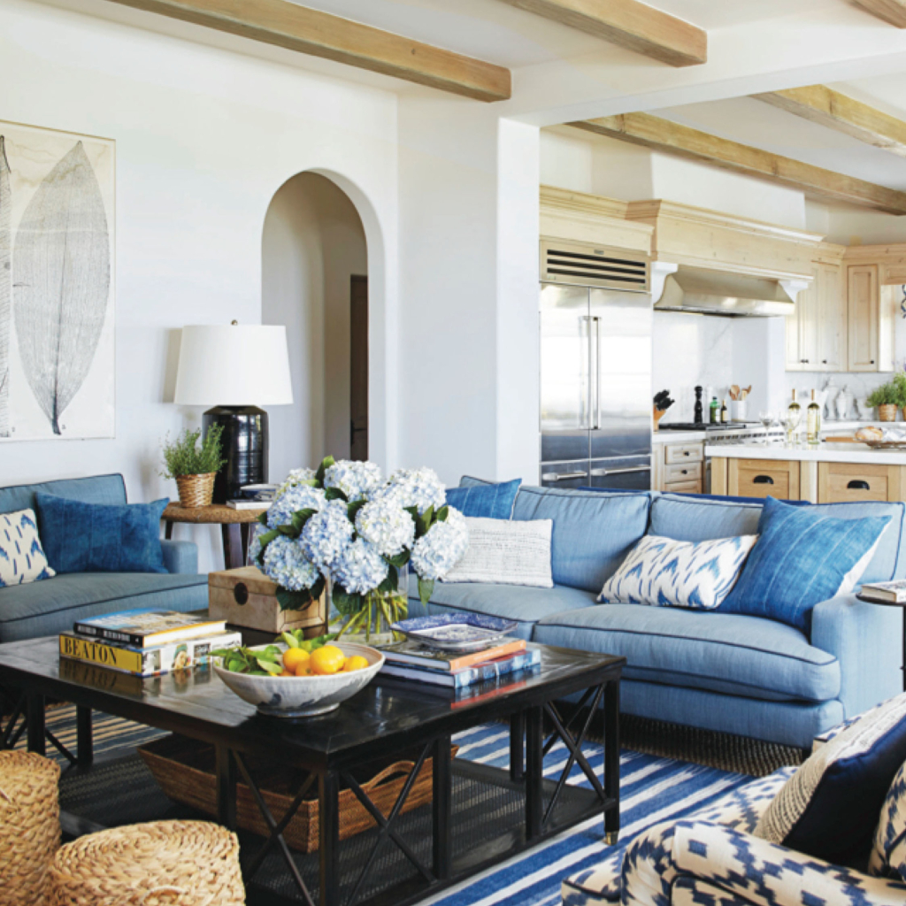 Classic Blue California Living Room Relaxed Traditional with blue hydrangea