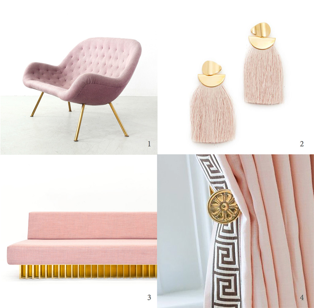 Pink and brass Fritz Neth sofa for Correcta, pink and brass Fringe earrings by Lizzie Fortunato, Angled Brass Bar Sofa by Early Work, pink and brass drapery and hardware.