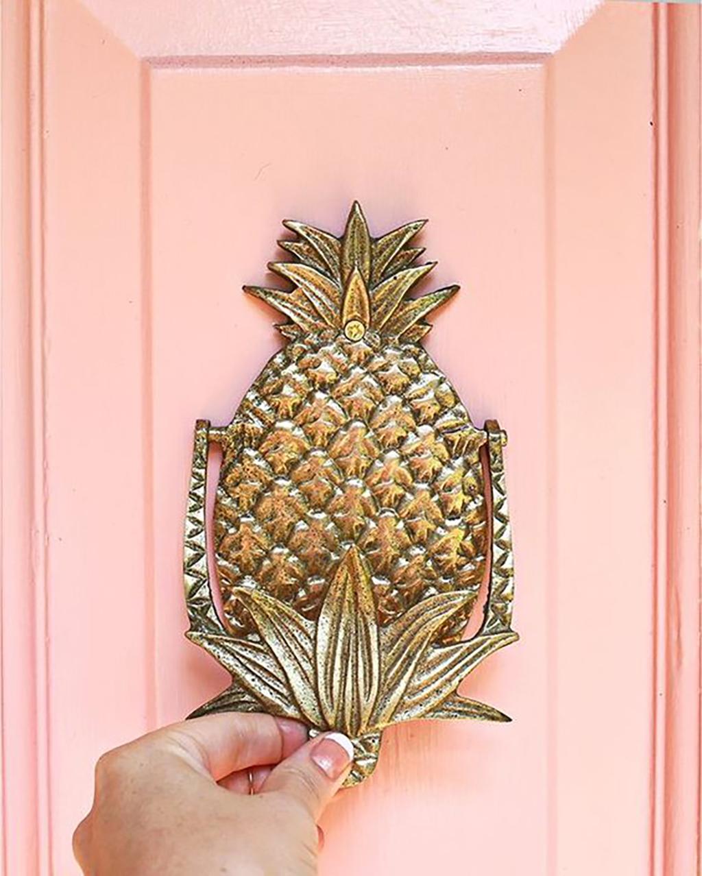 Peach door brass pineapple door knocker