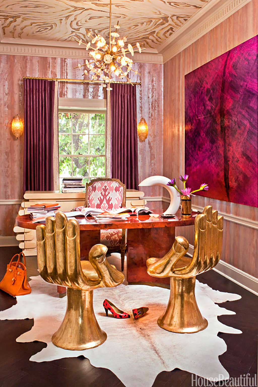 Pink and brass office by Kelly Wearstler from House Beautiful