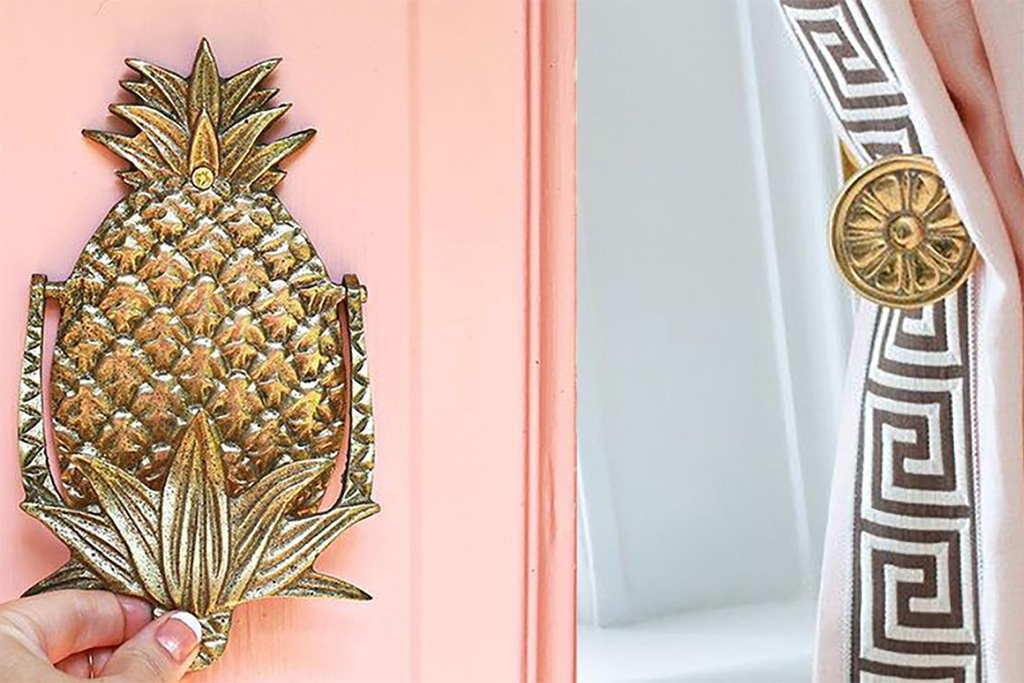 Peach door brass pineapple door knocker and pink and brass drapery and hardware