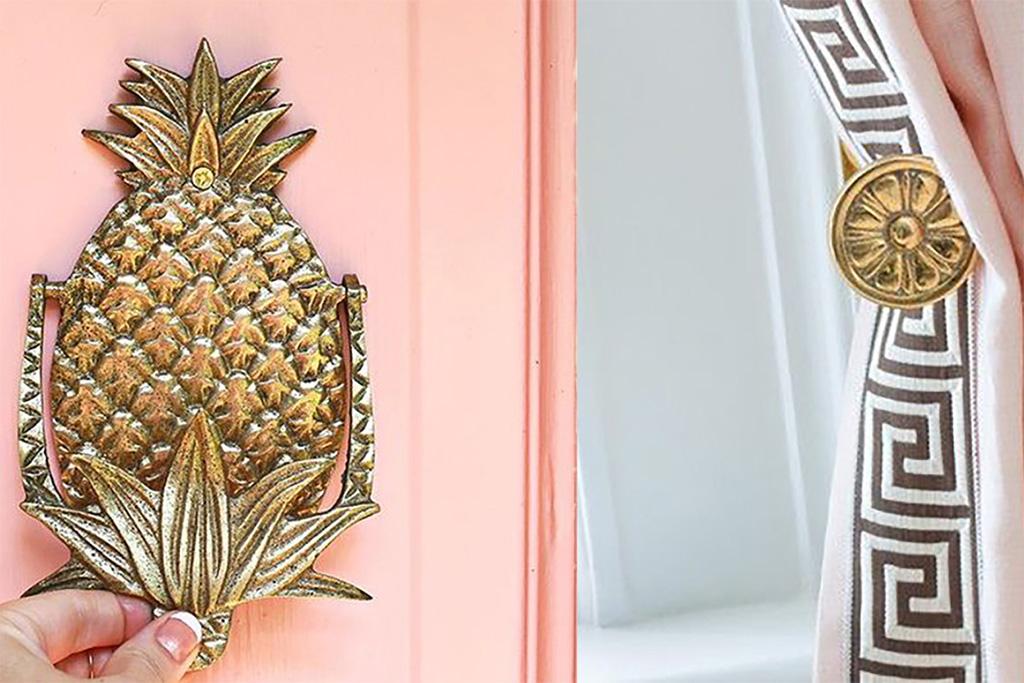 Peach door brass pineapple door knocker and pink and brass drapery and hardware