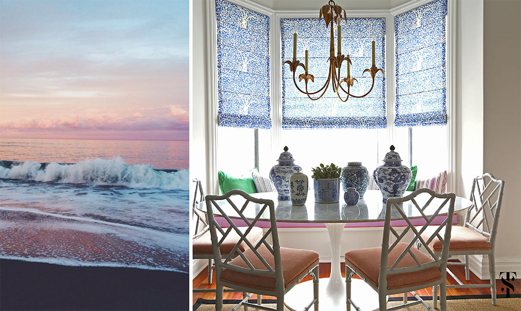 Sunset, beach. Dining area by Summer Thornton Design.