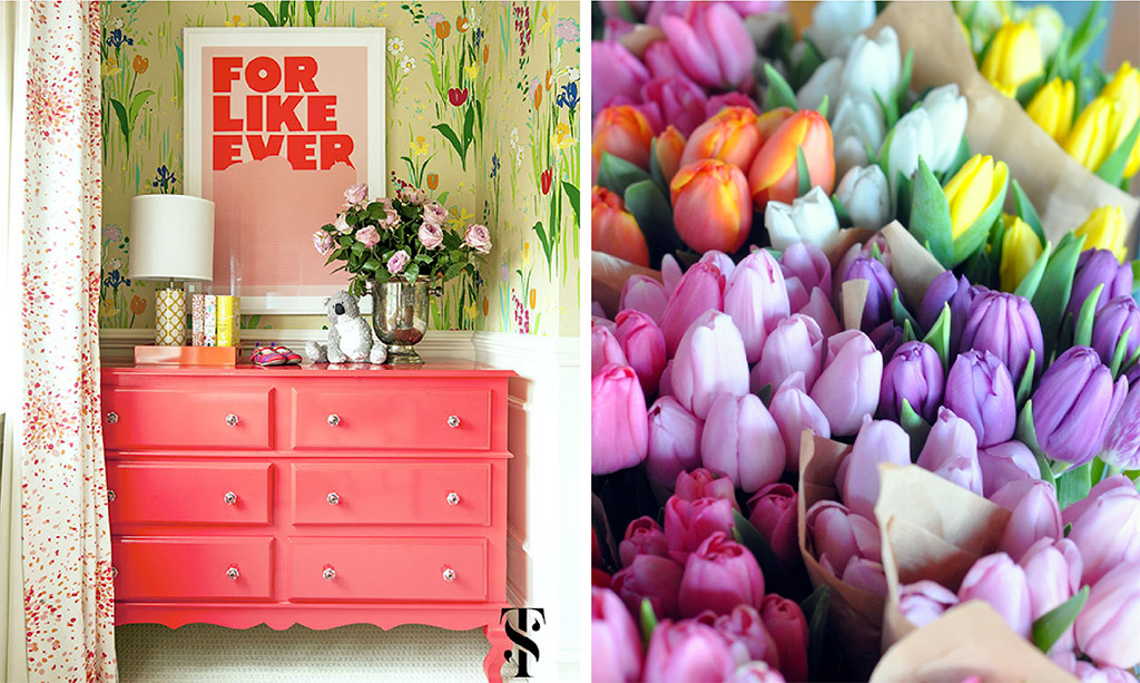 Lincoln Park Vintage Remodel by Summer Thornton Design, tulip wallpaper, coral highboy. Colorful tulips