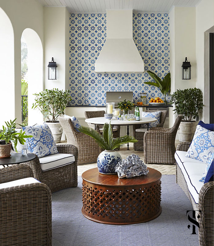 Naples Interior Design project - interior designer Summer Thornton - lanai with outdoor dining table and blue and white details near the outdoor pool - www.summerthorntondesign.com